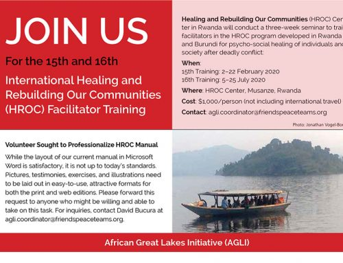 EVENT: International Healing and Rebuilding Our Communities (HROC) Facilitator Training – February and July, Rwanda