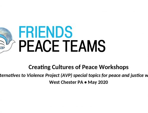 EVENT: Creating Cultures of Peace Workshop May 2020, West Chester, PA